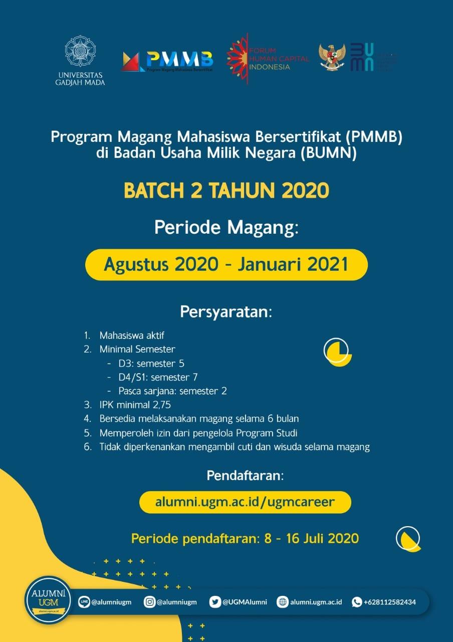 Program Magang Mahasiswa Bersertifikat Pmmb Di Badan Usaha Milik Negara Bumn Batch 2 Tahun 2020 Portal Alumni Universitas Gadjah Mada